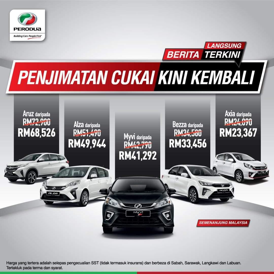 Harga Perodua PKPP Tanpa Cukai Jualan